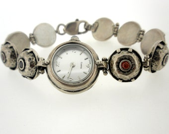 Handcrafted 925 Sterling Silver Watch Bracelet, Red Zircons