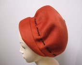 Vintage hat, Mod 1960 cool hat with bead trim, Mad Men hat