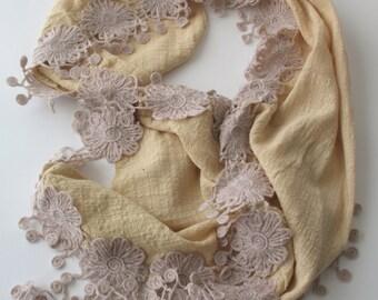 Beige Cotton Fabric Scarf - Lace Scarf  - Soft Scarf - Cowl Scarf - Shawl Scarf - 284