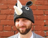 Carl the Rhino Crochet Beanie Hat Kid - Adult Size - Made to Order for YOU