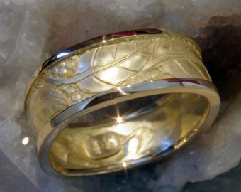 Hand Made in Canada Repousse and hand Chased formed Leaves 18k yellow gold Man's Wedding Band with Platinum Rails