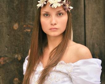 Bridal Forehead Band, Kanzashi Flower Hair Band, Floral Headband, Flapper Forehead Band, Boho Flower Hair Band, Wedding Flower Headband