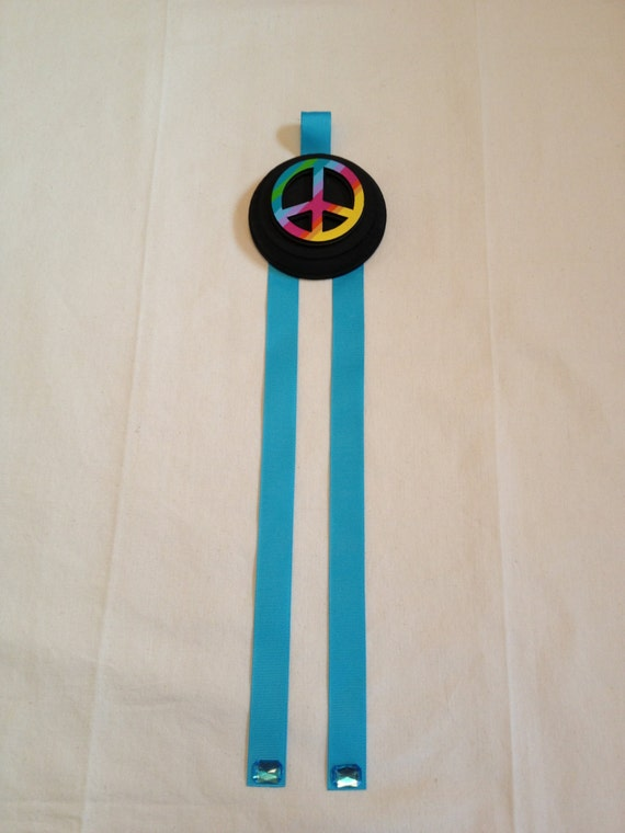 Peace Sign Bedroom Accessories: Peace Sign Girls Bedroom Ribbon Hairbow By Sugarspiceallthnice