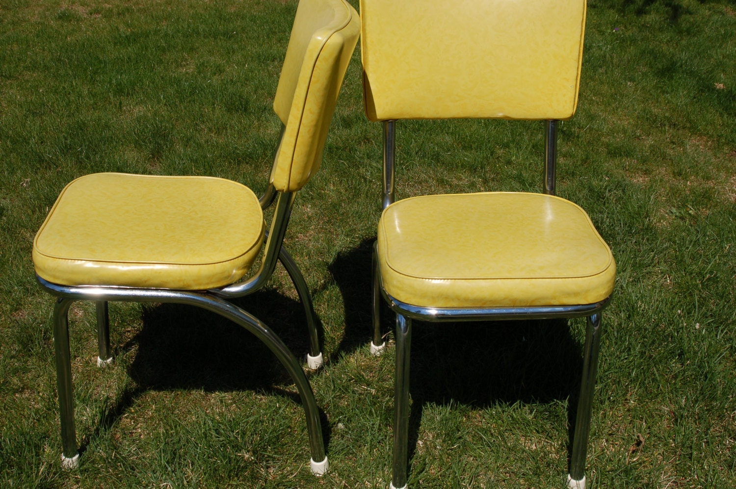 Pair Of Retro Douglas Furniture Chrome And Light Lime