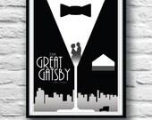 The Great Gatsby, Movie Poster, Housewares, Wall Decor,  Literature print, Minimalist, F. Scott Fitzgerald