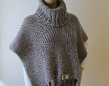 Knitting Pattern For Turtleneck Poncho : Popular items for knit poncho on Etsy