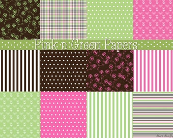 Pink n Green Papers - Digital Scrapbooking Clipart Graphics Background Papers