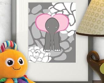 Baby Elephant - Elephant nursery art, baby nursery decor, nursery wall art, wall art, 8 x 10 Print