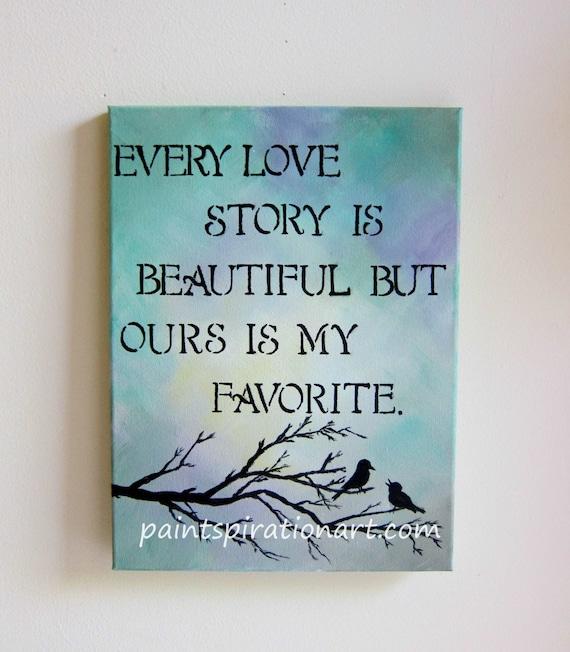 every love story is beautiful love birds art original painting