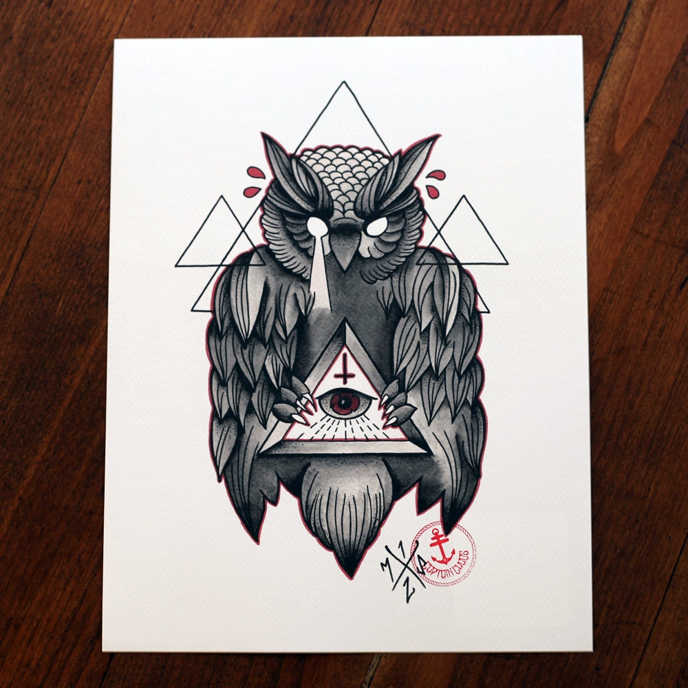 All On The Illuminati: Owl Of Wisdom Tattoo Print