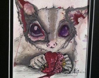 "Zombie Sugar Glider Art 5x7"" print"