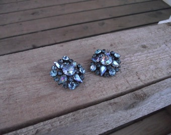 "Vintage ""Made in Austria""  Blue Aurora Borealis Statement Clip-On Earrings with Incredible Bling!"