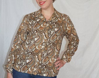 Paisley Shirt 60s Long Sleeved Brown London Pride Box Style Hipster Vintage
