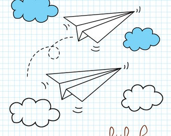 Paper Airplanes Digital Clip Art - PNG and EPS files instant download V.1