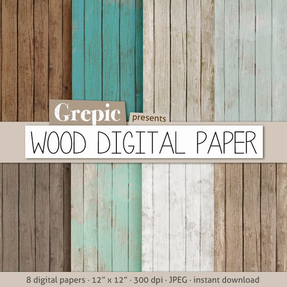 "Wood digital paper: ""WOOD DIGITAL PAPER"" with rustic wood texture and distressed wood grain in teal, brown, grey, digital wood background"