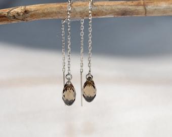 Greige Swarovski Crystal Sterling Silver Threader Earrings - Handmade Jewelry - Bridesmaid Earrings - Minimalist Jewelry - Beige Earrings