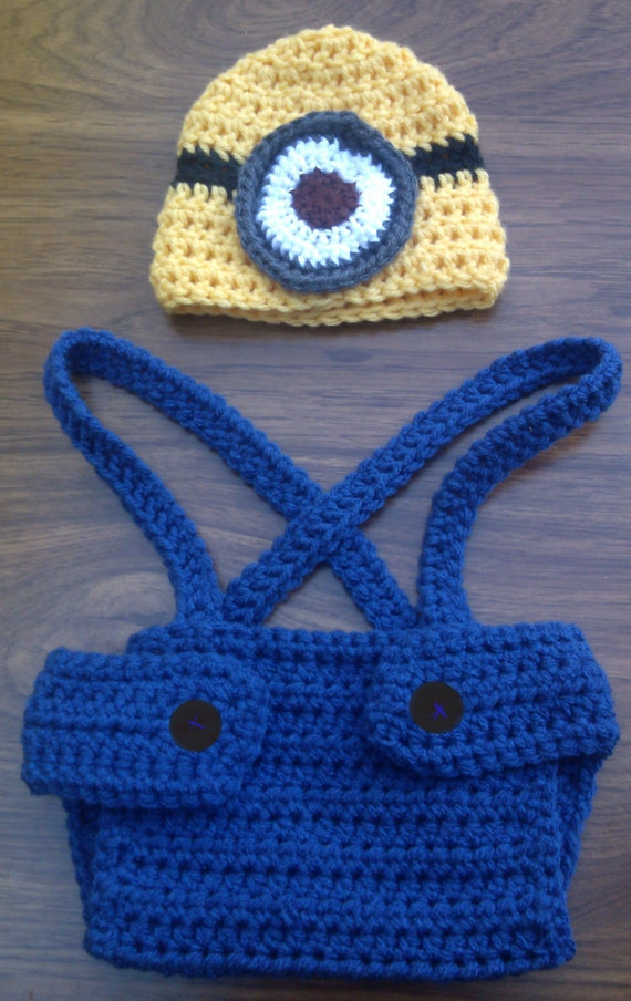 Crochet Baby Minion Hat Pattern : Crochet Minion Inspired Baby Hat and Diaper by ...