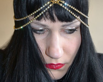 Rhinestone Headdress Headpiece Art Deco Goddess