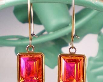 Rhinestone Earrings Astral Pink Swarovski Drop Earrings Pink Orange Coral Wedding Jewelry Bridesmaid Earrings