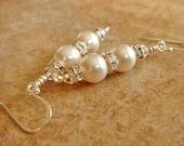 Bridesmaid Earrings Wedding Jewelry White Pearl Earrings Sterling Silver Dangle Earrings Bridesmaid Gift Rhinestone Earrings