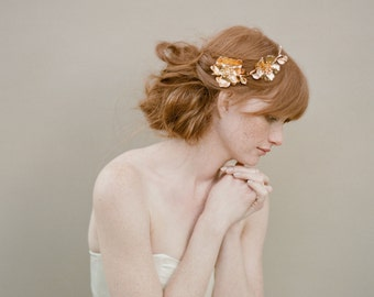 Bridal rose hairclip, headpiece, gold - Golden Rose and blossom branch headpiece - Style 355 - Ready to Ship