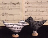 Pin Cushion- Primitive Music Fabric Bird Pin Pokes