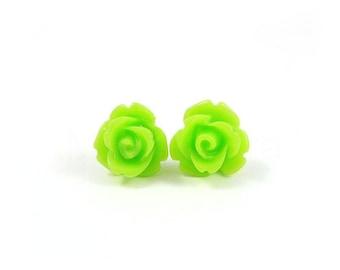 Neon Rose Stud Earrings,Lime Green Post Earrings,Neon Green Earrings,Neon Jewelry,Flower Earrings (E152)