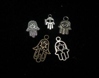 Judaica small charms - hamsa hands, chai, mogen David stars (20) silver, bronze - you choose    TeamESST, JudaicaonEtsy, OlympiaEtsy, WWWG