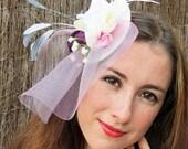 Fascinator - pink bridal fascinator, plum fascintor hat, purple   lavender wedding hat