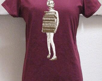 book tshirt - book shirt - womens tshirt - vintage tshirt - book lover - book gift - librarian gift - book worm - JUST BOOKS - crew neck