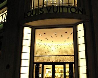 Paris Photography, Louis Vuitton Fashion Boutique Photo, Parisian Fashion Boutique, Paris At Night, Paris Fashion Boutique Night Scene 8x12