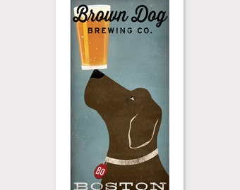 CUSTOM Personalized Brown Dog Craft Beer Brewing Company graphic art illustration GICLEE PRINT Signed