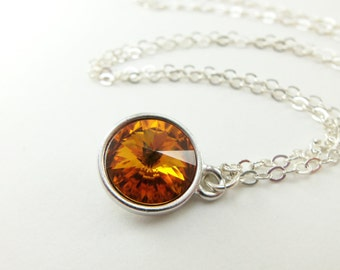Citrine Birthstone Necklace Sterling Silver Necklace November Birthstone Jewelry Citrine Crystal Orange Necklace