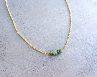 Emerald green gemstone necklace, gold chain simple necklace, dainty jewelry, May Birthstone Necklace