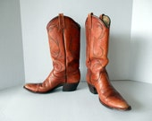 Dan Post Cowgirl Boots // Vintage Cognac Leather (8 A)