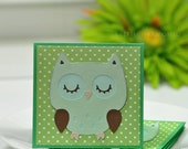 Green Mint Owl- Mini Cards Thank You Cards  ( Set of 4)