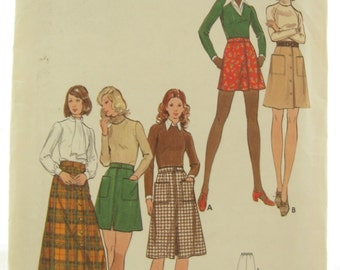 butterick 6856 a line skirt pattern with pockets vintage