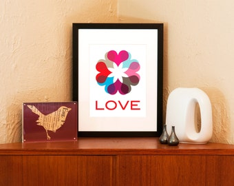 Love Comes Round - Ring of Hearts Art Print on 100% Recycled Paper (Free Shipping in US)
