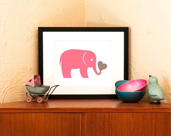 Pink Elephant Art Print - Zoo Animal Nursery Decor (Free Shipping in US)