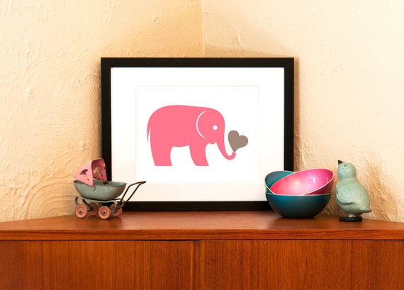 Pink Elephant Art Print - Zoo Animal Nursery Decor (Free Shipping in US)