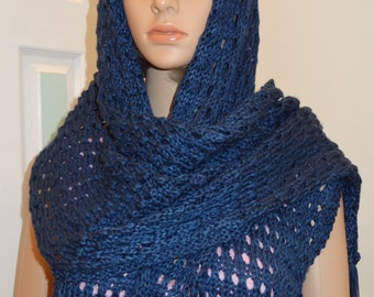 DESIGNER , Shawl/pashmina, Midnight blue, 18 incheswide  by 82 inches long   hand knitted in a open, lacey pattern stitch with fringe