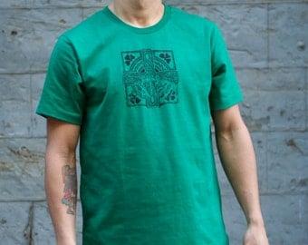 Men's Kelly Green Irish T-Shirts , Celtic Cross T-Shirt, Ireland, American Apparel