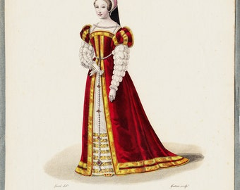 1827 Antique FASHION print fine engraving by Lanté of a lady of the court of François first, BAROQUE CLOTHING, 186 years old gorgeous print.