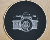 Vintage Camera . Embroidery Hoop Art
