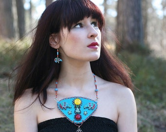 Turquoise Bear Necklace - Polymer Clay Zuni Bear Bright colorful Tribal necklace - MADE TO ORDER