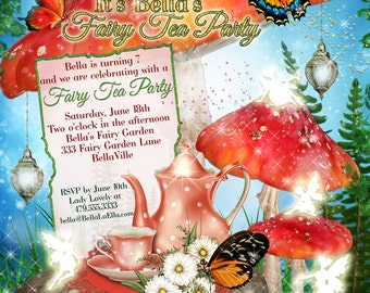 Fairy Tea Party Invitation, Fairy Garden Party, Fairy Invitations, Tea Party Invitations