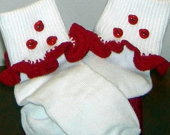 Toddler Size 3-8.5 Lady Bugs on Red Crocheted Ruffle Trim Socks - 2 to 3 Years