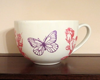 Silkscreen Painted Coffee Latte Mug with Flowers and Butterflies