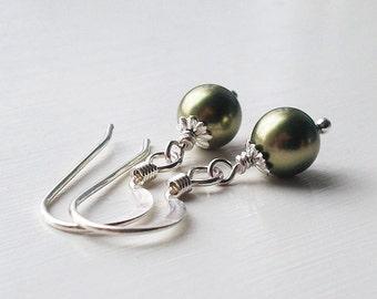 Petite Sage Green Swarovski Crystal Pearl Earrings  by Quintessential Arts