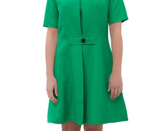 Green A line cute retro tea dress scooter 60s mod custom made